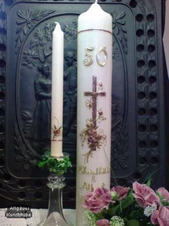 Individuelle Hochzeitskerze zur Goldenen Hochzeit Cosima