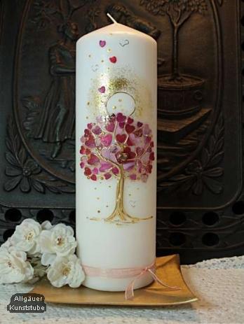 Hochzeitskerze Agneta mit Herzbaum