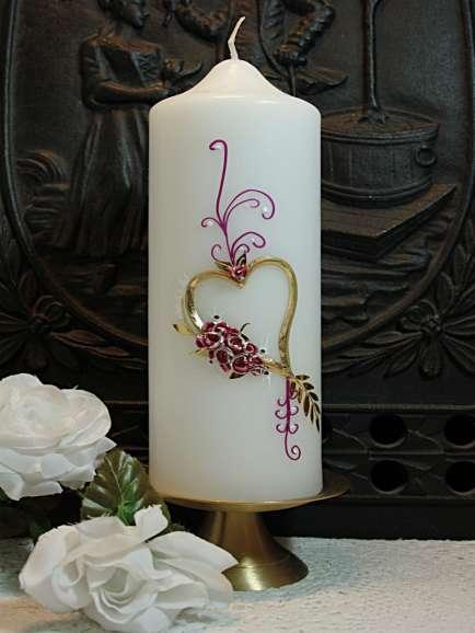 Hochzeitskerze Herz Rosen Pink gestalten romantisch