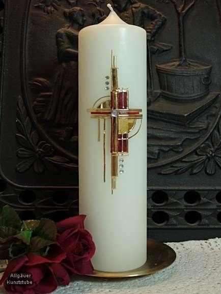 Hochzeitskerze, modern mit Kreuz und Rosen. Trend 2009