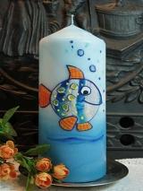 Taufkerze Timo mit Fisch