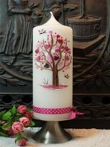 Taufkerze Rosa mit Herzbaum
