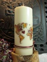 Hochzeitskerze Gudrun mit Weltkarte