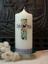 Taufkerze Esra mit Blütenkreuz