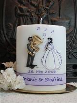 Hochzeitskerze Charlotte mit Musikerpaar