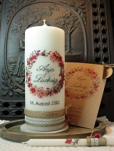 Hochzeitskerze Anja mit Blütenkranz