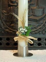 Bastmanschette Edgar mit blauen Blüten