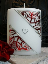 Elegante Hochzeitskerze Tessa mit Ornament