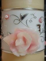 Elegante Hochzeitskerze Thekla mit Ornament