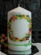 Hochzeitskerze Lotte mit Blütenkranz