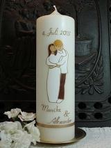 Hochzeitskerze Nele mit Brautpaar