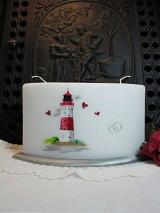 Hochzeitskerze Svenja mit Leuchtturm, Bogenkerze