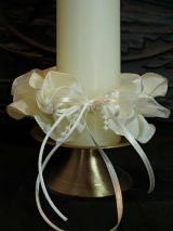 Kerzenmanschette Monika/ Elfenbein/Weiß