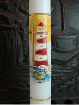 Kommunionkerze Anna mit Leuchtturm