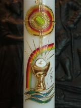 Kommunionkerze Milan mit Regenbogen