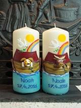 Patenkerzen Arche Noah/ blauer Sockel