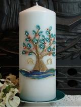 Taufkerze Marion mit Lebensbaum